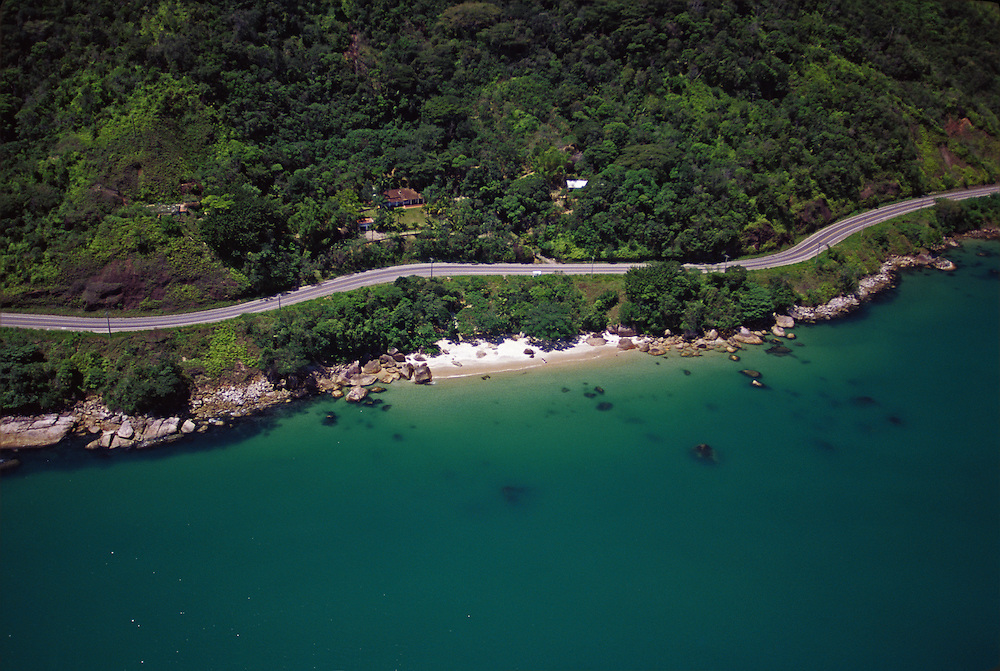 Aerial view of Rio-Santos highway, Brazil.
