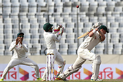 August 29, 2017 - Mirpur, Dhaka, Bangladesh - Australia's Matt Renshaw plays a shot during day three of the First Test match between Bangladesh and Australia at Shere Bangla National Stadium on August 29, 2017 in Mirpur, Bangladesh. (Credit Image: © Ahmed Salahuddin/NurPhoto via ZUMA Press)