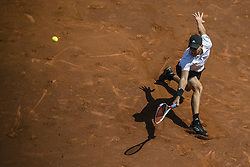 April 27, 2018 - Barcelona, Catalonia, Spain - DOMINIC THIEM (AUT) returns the ball to Stefanos Tsitsipas (GRE)  in their quarter final of the 'Barcelona Open Banc Sabadell' 2018. Tsitsipas won 6:3, 6:2 (Credit Image: © Matthias Oesterle via ZUMA Wire)