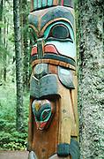 Alaska. Sitka Nat'l Historical Park. RA Yaadaas Crest Corner Pole, Bear, replica.