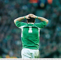 11 February 2007; Marcus Horan, Ireland, holds his head late in the game. RBS Six Nations Rugby Championship, Ireland v France, Croke Park, Dublin. Picture Credit: Brendan Moran / SPORTSFILE