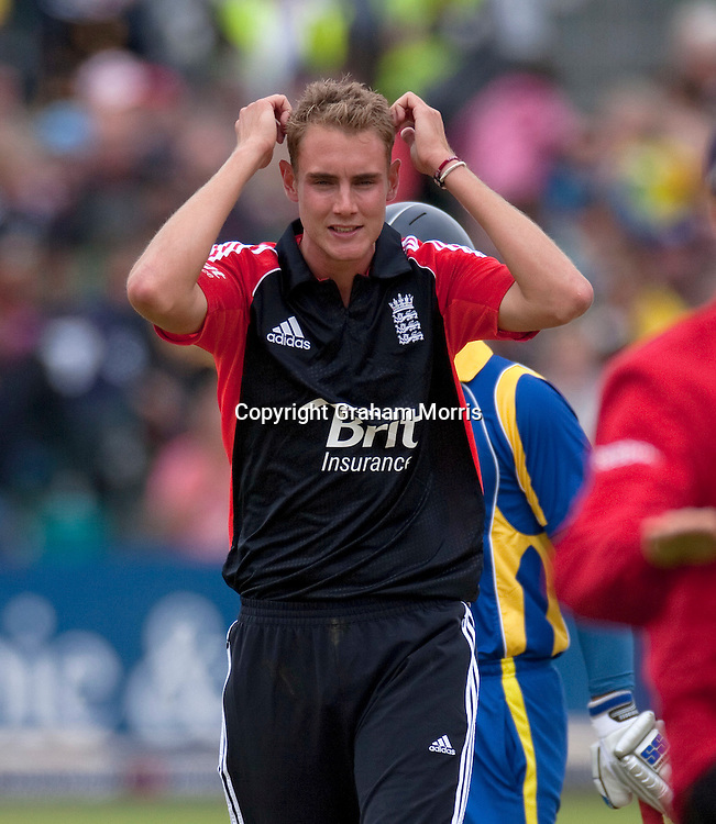 England captain Stuart Broad down, shortly before losing the T20 international to Sri Lanka at Bristol.  Photo: Graham Morris/photosport.co.nz