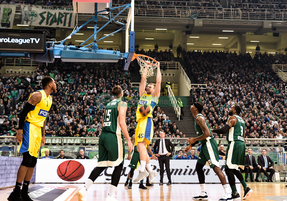 December 19, 2017 - Athens, Greece - Artsiom Parakhouski, #45 of Maccabi Fox Tel Aviv during the 2017/2018 Turkish Airlines EuroLeague Regular Season Round 13 game between Panathinaikos Superfoods Athens and Maccabi Fox Tel Aviv at Olympic Sports Center Athens on December 19, 2017 in Athens, Greece. (Credit Image: © Dimitris Lampropoulos/NurPhoto via ZUMA Press)