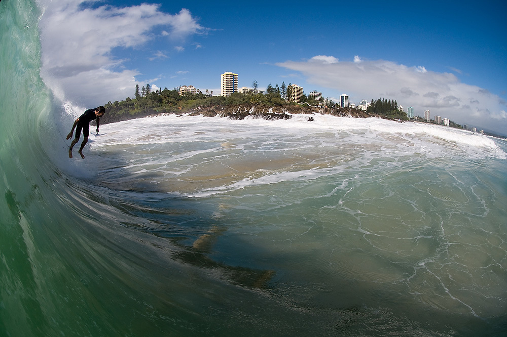 29 April 2011: Joel Parkinson free falls on the take off at Snapper Rocks on the Gold Coast. Photo by Matt Roberts