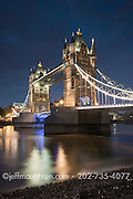 Twilight at Tower Bridge and River Thames in London, England.