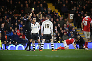 Fulham midfielder, Ryan Tunnicliffe (19) yellow card during the Sky Bet Championship match between Fulham and Charlton Athletic at Craven Cottage, London, England on 20 February 2016. Photo by Matthew Redman.