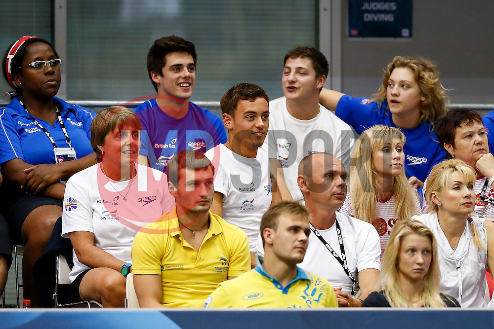 Tom Daley of Great Britain looks on from the crowd with his coach Jane Figueiredo and the rest of the British Team during the Mens 3m Springboard Final - Photo mandatory by-line: Rogan Thomson/JMP - 07966 386802 - 21/08/2014 - SPORT - DIVING - Berlin, Germany - SSE im Europa-Sportpark - 32nd LEN European Swimming Championships 2014 - Day 9.
