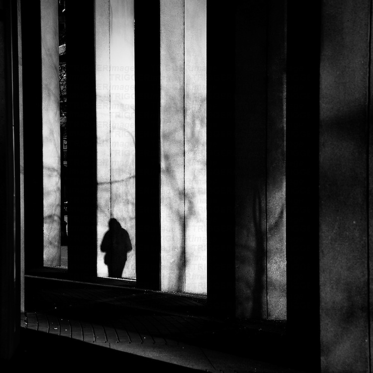 A small shadow of a walking figure against pillars of a building with shadows from tree branches.