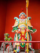 20 DECEMBER 2012 - KUALA LUMPUR, MALAYSIA: The warrior guarding the Guan Di Temple in Kuala Lumpur, Malaysia. Guan Di Temple (God of War Temple) was built in 1888 and is one of the oldest Chinese Temples in Kuala Lumpur.   PHOTO BY JACK KURTZ