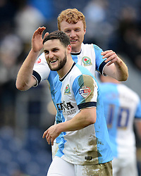 Blackburn Rovers's Craig Conway celebrates with team-mate Chris Taylor (R) at the end of the match - Photo mandatory by-line: Richard Martin Roberts/JMP - Mobile: 07966 386802 - 24/01/2015 - SPORT - Football - Blackburn - Ewood Park - Blackburn Rovers v Swansea City - FA Cup Fourth Round