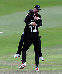 Somerset's Craig Overton and Jack Leach celebrate the wicket of Worcestershire's Ed Barnard - Photo mandatory by-line: Harry Trump/JMP - Mobile: 07966 386802 - 31/07/15 - SPORT - CRICKET - Somerset v Worcestershire- Royal London One Day Cup - The County Ground, Taunton, England.