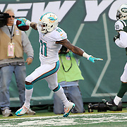 Mike Wallace, Miami Dolphins, scores a touchdown during the New York Jets Vs Miami Dolphins  NFL American Football game at MetLife Stadium, East Rutherford, NJ, USA. 1st December 2013. Photo Tim Clayton
