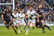 Peter Horne is tackled by Bill Mata during the Guinness Pro 14 2017_18 match between Edinburgh Rugby and Glasgow Warriors at Myreside Stadium, Edinburgh, Scotland on 28 April 2018. Picture by Kevin Murray.