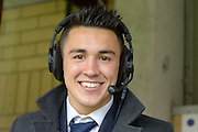 Wycombe Wanderers Midfielder Luke O'Nien (20) commentating during the Sky Bet League 2 match between Wycombe Wanderers and Barnet at Adams Park, High Wycombe, England on 16 April 2016. Photo by Dennis Goodwin.