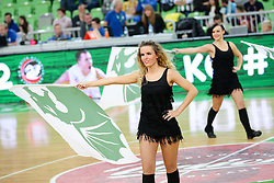 Cheerleaders Dragon Ladies - Zmajcice during basketball match between KK Union Olimpija Ljubljana and Telekom Baskets Bonn (GER) in Round 3 of EuroCup 2015/16, on October 28, 2015 in Arena Stozice, Ljubljana, Slovenia. Photo by Matic Klansek Velej / Sportida.com