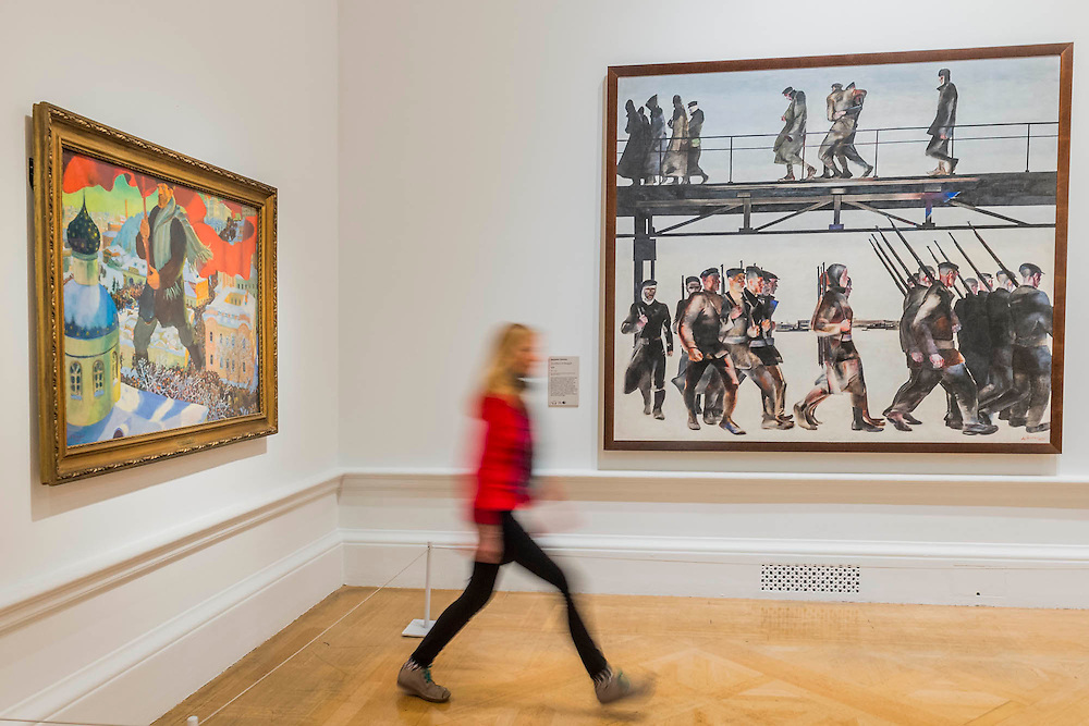 The Bolshevik, 1920, by Boris Kustodiev and The Defence of Petrograd, 1928, by Alexander Deineka - Revolution: Russian Art 1917-1932 marks the centenary of the Russian Revolution.  This landmark exhibition focuses on the momentous period in Russian history between 1917, the year of the October Revolution, and 1932 when Stalin began his violent suppression of the Avant-Garde. Avant-Garde artists such as Chagall, Kandinsky, Malevich and Tatlin feature alongside the Socialist Realism of Brodsky, Deineka, Mukhina and Samokhvalov amongst others. The exhibition runs at the Royal Academy of Arts from 11 February – 17 April 2017.