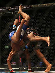 Dalcha Lungiambula (Blue) throws Tumelo Maphutha (Red) during the Interim Light Heavyweight Title bout of the Extreme Fighting Championships, EFC 52 held at the Grand West Casino in Cape Town, South Africa on the 5th August 2016<br /> <br /> Photo by:   Shaun Roy / Real Time Images