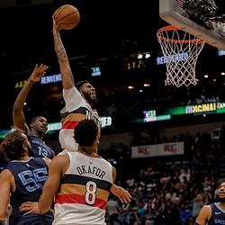 Jan 7, 2019; New Orleans, LA, USA; New Orleans Pelicans forward Anthony Davis (23) dunks over Memphis Grizzlies forward Jaren Jackson Jr. (13) and center Joakim Noah (55) during the second half at the Smoothie King Center. Mandatory Credit: Derick E. Hingle-USA TODAY Sports
