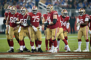 The San Francisco 49ers offense breaks from the huddle during the NFL week 10 regular season football game against the New York Giants on Monday, Nov. 12, 2018 in Santa Clara, Calif. The Giants won the game 27-23. (©Paul Anthony Spinelli)