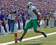Marshall's James J.J. Johnson celebrates as he scores after recovering a blocked punt in the second quarter, at Bill Snyder Family Stadium in Manhattan, Kansas, September 16, 2006.  The Wildcats beat the Thundering Herd 23-7.