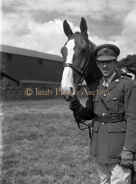 25/07/1952 <br /> 07/25/1952<br /> 25 July 1952<br /> Army Equitation School McKee Barracks, Cabra, Dublin.  Lieutenant  P.B. Cullinan (Dublin) with &quot;Killaloe&quot;.