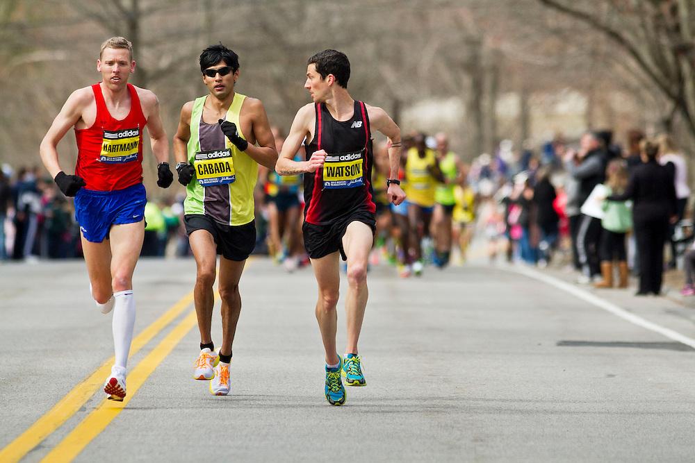 2013 Boston Marathon: Robin Watson, Canada looks back at Americans Hartmann, Cabada as they lead race early