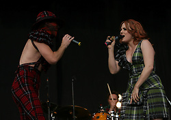 Jake Shears and Ana Matronic of Scissor Sisters on the main stage, T in the Park, Sunday 8 July 2007..T in the Park festival took place on the 6th, 7th and 8 July 2007, at Balado, near Kinross in Perth and Kinross, Scotland. This was the first time the festival had been held over three days..Pic ©Michael Schofield. All Rights Reserved..