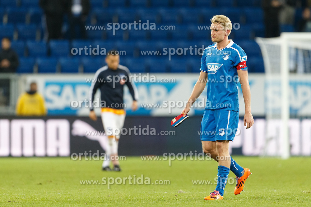 09.11.2013, Rhein Neckar Arena, Sinsheim, GER, 1. FBL, TSG 1899 Hoffenheim vs Hertha BSC, 12. Runde, im Bild Andreas Beck (TSG 1899 Hoffenheim), enttaeuscht, traurig, Emotionen // during the German Bundesliga 12th round match between TSG 1899 Hoffenheim and Hertha BSC at the Rhein Neckar Arena in Sinsheim, Germany on 2013/11/09. EXPA Pictures &copy; 2013, PhotoCredit: EXPA/ Eibner-Pressefoto/ Neis<br /> <br /> *****ATTENTION - OUT of GER*****