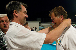 Milan Krajnc, president of VZS and Duho Veselin, head coach of VK Rokava Koper  after the water polo match between ASD Vaterpolo Rokava Koper and AVK Triglav Kranj in 3rd Round of Final of Slovenian Water polo National Championship, on June 8, 2011 in Zusterna pool, Koper, Slovenia. Rokava Koper defeated Triglav Kranj 12-6 and became Slovenian Champion 2011. (Photo By Vid Ponikvar / Sportida.com)
