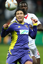 Etien Velikonja of NK Maribor and Djamal of NK Braga at 3th round of European Leauge football match between Nk Maribor and Nk Braga, November 20, 2011, in Maribor, Slovenia (Photo by Urban Urbanc / Sportida ) .
