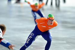 08-01-2012 SCHAATSEN: EC ALLROUND: BUDAPEST<br /> 1500 meter men / (L-R) Coach Gerard Kemkers, Jan Blokhuijsen, Sven Kramer<br /> ©2012-FotoHoogendoorn.nl