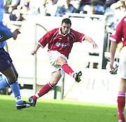 Nationwide Division 2 27-10-2001.Wycombe Wanderers FC v Swindon Town FC:.Wayne Carlisle, scores Swindon first half goal... ...........