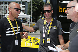 July 18, 2018 - La Rosiere, France - LA ROSIERE ESPACE SAN BERNARDO, FRANCE - JULY 18 : SVEN NYS with MAASSEN Frans (NED) Ass. Sports Director of Team Lotto NL - Jumbo and VERHOEVEN Nico (NED) Sports Director of Team Lotto NL - Jumbo during stage 11 of the 105th edition of the 2018 Tour de France cycling race, a stage of 108.5 kms between Albertville and La Rosiere Espace San Bernardo on July 18, 2018 in La Rosiere Espace San Bernardo, France, 18/07/18 (Credit Image: © Panoramic via ZUMA Press)