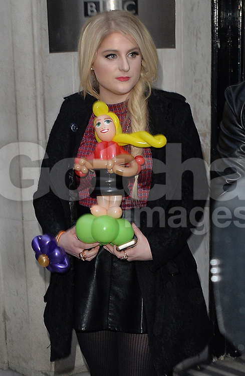 Singer Meghan Trainor visits Radio 2 and Kiss FM in central London, UK. 23/01/2015<br />BYLINE MUST READ : GOTCHAIMAGES.COM<br /><br />Copyright by &copy; Gotcha Images Ltd. All rights reserved.<br />Usage of this image is conditional upon the acceptance <br />of Gotcha Images Ltd, terms and conditions available at<br />www.gotchaimages.com