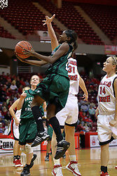 06 December 2008: Sydney Huntley-Rogers takes an underhanded shot to avoid Nicolle Lewis during a game between the Eastern Michigan Eagles and the Illinois State Redbirds on Doug Collins Court inside Redbird Arena on the campus of Illinois State University, Normal Il.