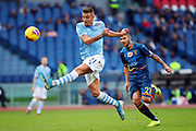 Sergej Milinkovic Savic of Lazio takes a shot during the Italian championship Serie A football match between SS Lazio and US Lecce Sunday, Nov. 10, 2019 at the Stadio Olimpico in Rome. SS Lazio defeated US Lecce 4-2. (Federico Proietti/Image of Sport)