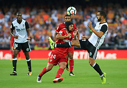 October 21, 2017 - Valencia, Valencia, Spain - Martin Montoya of Valencia CF and Manuel Agudo Duran, Nolito of Sevilla FC in action during the La Liga match between Valencia CF and Sevilla FC at Estadio Mestalla, on october 21, 2017 in Valencia, Spain. (Credit Image: © Maria Jose Segovia/NurPhoto via ZUMA Press)