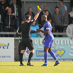 TELFORD COPYRIGHT MIKE SHERIDAN Theo Streete of Telford is booked during the National League North fixture between Blyth Spartans and AFC Telford United at Croft Park on Saturday, September 28, 2019<br /> <br /> Picture credit: Mike Sheridan<br /> <br /> MS201920-023