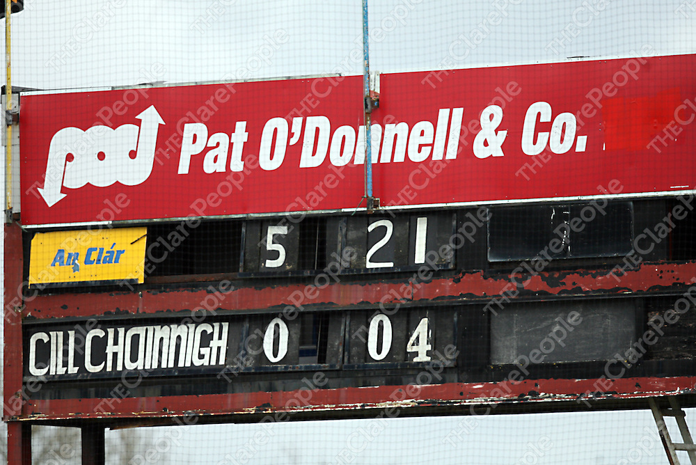The final score line after the Clare V Kilkenny National Football League clash in Cusack Park on Sunday.<br /> Photograph by Yvonne Vaughan