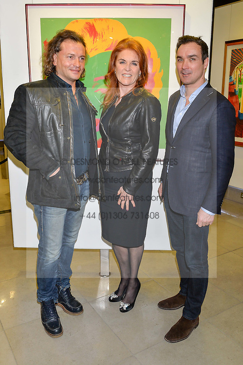 Left to right, MANUELE MALENOTTI, SARAH, DUCHESS OF YORK and MANUEL FERNANDEZ at a private view of work by Christian Hook in aid of Children in Crisis held at Clarendon Fine Art, 46 Dover Street, London on 17th March 2016.