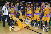 London Lions and mascot celebrate wining the Betway British Basketball All-Stars Championship at the O2 Arena, London, United Kingdom on 24 September 2017. Photo by Martin Cole.