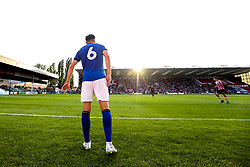 Morgan Fox of Sheffield Wednesday gets to his feet as the sun sets over Sincil Bank home of Lincoln City - Mandatory by-line: Robbie Stephenson/JMP - 13/07/2018 - FOOTBALL - Sincil Bank Stadium - Lincoln, England - Lincoln City v Sheffield Wednesday - Pre-season friendly