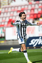 Dunfermline&rsquo;s Faissal El Bahktaoui celebrates after scoring their second goal. <br /> Dunfermline 7 v 1 Cowdenbeath, SPFL Ladbrokes League Division One game played 15/8/2015 at East End Park.