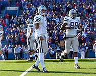 Kansas State quarterback Josh Freeman looks to the sidelines in a game against Kansas at Memorial Stadium in Lawrence, Kansas, November 18, 2006.  Kansas beat K-State 39-20.<br />