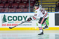 KELOWNA, BC - OCTOBER 20:  Kieffer Bellows #22 of the Portland Winterhawks shoots during warm up against the Kelowna Rockets at Prospera Place on October 20, 2017 in Kelowna, Canada. (Photo by Marissa Baecker/Getty Images)