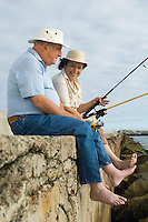 Senior couple fishing