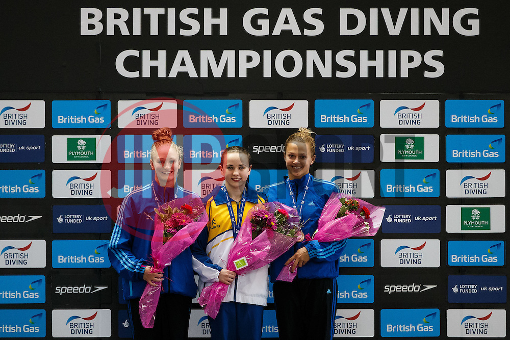 Podium of the Womens 10m Platform Final, (L-R) Silver Medallist Sarah Barrow of Plymouth Diving, Gold Medallist Lois Toulson of City of Leeds Diving Club and Bronze Medallist Tonia Couch of Plymouth DIving - Photo mandatory by-line: Rogan Thomson/JMP - 07966 386802 - 21/02/2015 - SPORT - DIVING - Plymouth Life Centre, England - Day 2 - British Gas Diving Championships 2015.