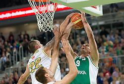 Damir Markota of Union Olimpija vs Smiljan Pavic of Krka during second semi-final match of Basketball NLB League at Final four tournament between KK Union Olimpija and Krka (SLO), on April 19, 2011 in Arena Stozice, Ljubljana, Slovenia. (Photo By Vid Ponikvar / Sportida.com)