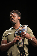 DALLAS, TX - MAY 12:  Jon Jones holds a UFC championship belt during the UFC Summer Kickoff Press Conference at the American Airlines Center on May 12, 2017 in Dallas, Texas. (Photo by Cooper Neill/Zuffa LLC/Zuffa LLC via Getty Images) ***Local Caption***  Jon Jones