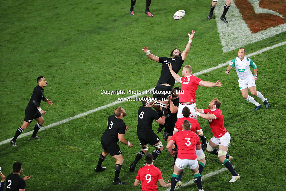 All Black Sam Whitelock stretches for the line out ball during the 30-15 All Black win in the first test match of the DHL Lions Series 2017 played between the All Blacks and the British and Irish Lions at Eden Park, Auckland on 24th June 2017. <br /> Copyright Photo; Peter Meecham/ www.photosport.nz